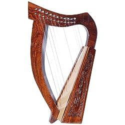 Irische Harfe 12Saiten Sheesham Holzkeltische Harfe Rose Holz Kostenloser Tragetasche