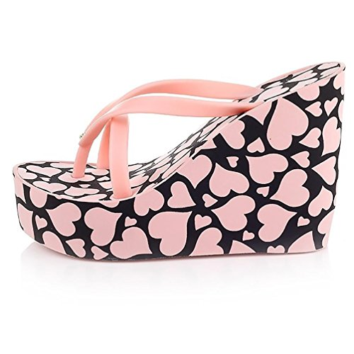SHANGXIAN à talons hauts des femmes slip-flops Sandales compensées pink