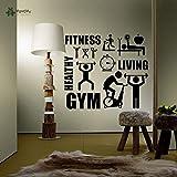 zxddzl Fotomurale Stile di Vita Sano Sport Wall Sticker Motivazione Palestra Fitness Vinile Decori per pareti Art Ripetibile 57X64cm