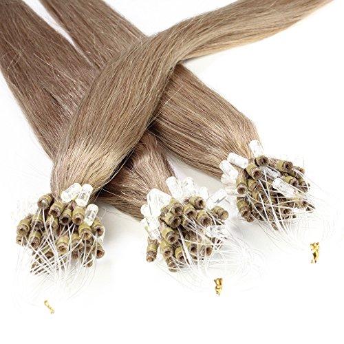 Just Beautiful Hair and Cosmetics Lot de 100 extensions Remy Loop avec micro anneaux pour pose à froid Blond foncé (14) 50 cm