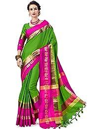 Art Décor Sarees Women's Green Color Cotton Silk Jacquard Saree With Blouse With FREE EXTRA BROCADE BLOUSE