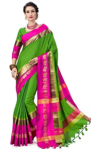 Art Décor Sarees Women's Green Color Cotton Silk Jacquard Saree With Blouse...