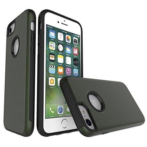Apple iPhone 7 4.7 Hülle, Voguecase Schutzhülle / Case / Cover / Hülle / TPU Gel Skin (Feder-Anhänger) + Gratis Universal Eingabestift JY-Armee-Grün