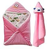 #6: My NewBorn Baby Balnket- Combo of 2 Pcs.-Shearing Velvet & Fleece Hooded Blankets