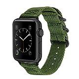 TRUMiRR Cinturini Apple Watch 44mm 42mm, Cinturino in Nylon Intrecciato Genuino Cinturino Morbido di Ricambio con Cinturino in Acciaio Inossidabile Zulu per Apple Watch Series 4 3 2 1