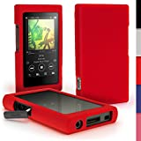 iGadgitz Red Silicone Skin Case Cover for Sony Walkman NW-A35 NW-A40 NW-A45 MP3 Player + Screen Protector