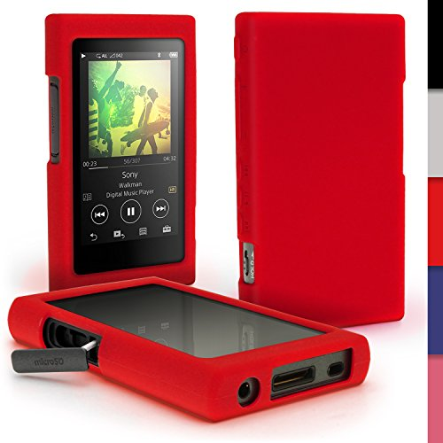 igadgitz Rot Silikon Tasche Hülle Case Cover für Sony Walkman NW-A35 NW-A40 NW-A45 MP3-Player + Schutzfolie Mp3-cover