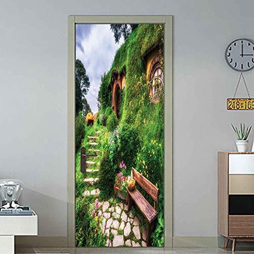 3D Tür Wandaufkleber Hobbit Lodge Wohnzimmer Schlafzimmer Küche (77X200Cm) PVC selbstklebende wasserdichte Aufkleber auf den Türen Tapete - Lodge-tür
