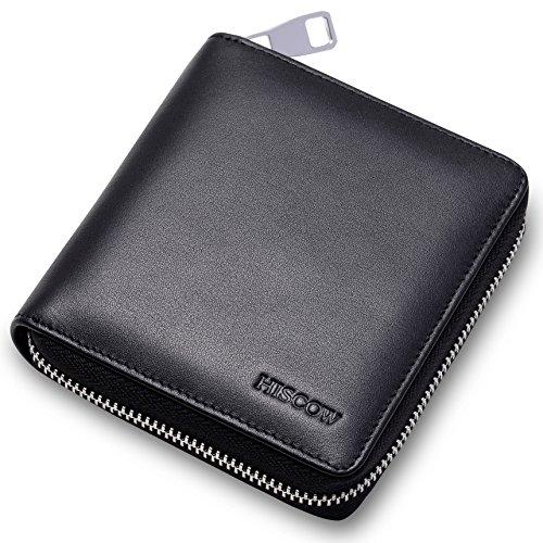 HISCOW a portafoglio con cerniera, in metallo, colore: nero con monete-Custodia in pelle di vitello italiana