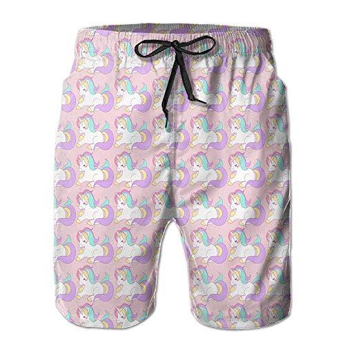 Magical Rainbow Unicorn Herren-Badehose, schnell trocknend, sportlich, Boardshort, Strand-Shorts (3x Herren Schwimmen Shorts)