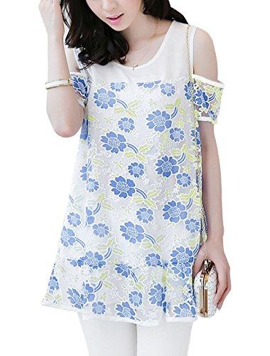 Femmes Imprimés Floraux Épaule Ajourée Maille Superposition Doublure Tunique Haut Bleu