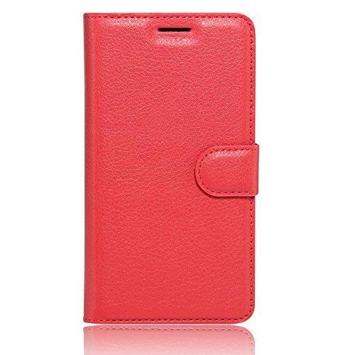 COVO® PU+TPU Kunstleder Brieftasche Hülle für Archos 55 Cobalt Plus mit Stand Funktion (Rot)