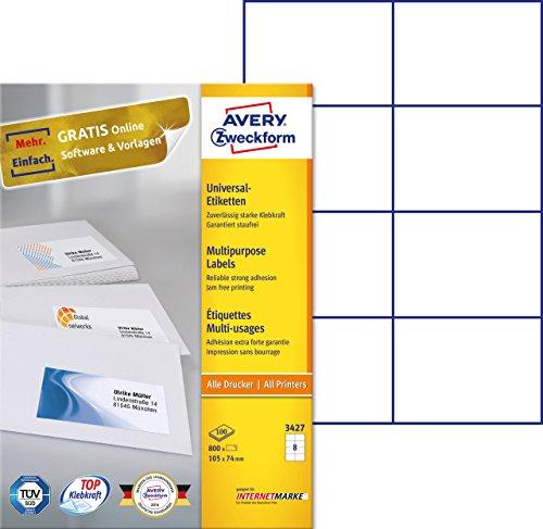 einfacher kopierer AVERY Zweckform 3427 Universal-Etiketten (A4, Papier matt, 800 Etiketten, 105 x 74 mm, 100 Blatt) weiß