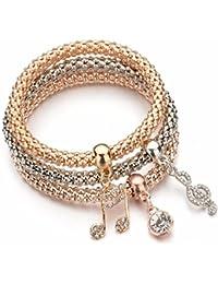 Shining Diva Fashion Jewellery Gold Crystal Charm Bracelets for Girls