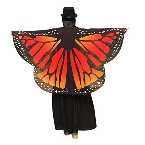 OverDose Frauen Schmetterling Flügel Schal Loose Kimono Strickjacke Top Shirt Bluse Butterfly Wings Shawl 160 * 140cm (160*140cm, Orange1) (Mädchen Schmetterling Flügel)