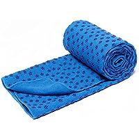 Toalla para estera de yoga bikram, de secado rápido, antideslizante con puntos de agarre (6 colores), con bolsa de transporte de malla, extra grande (62 x 183 cm), azul