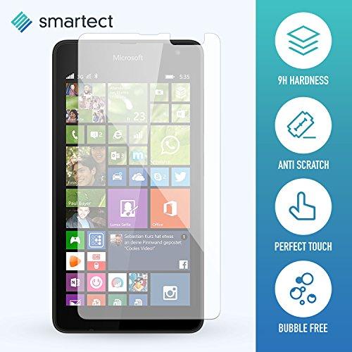 1x Protector de Pantalla de Cristal Templado para Microsoft Lumia 535 de smartect® | Lámina Protectora Ultrafina de 0,3mm | Vidrio Robusto con Dureza 9H y Antihuellas Dactilares