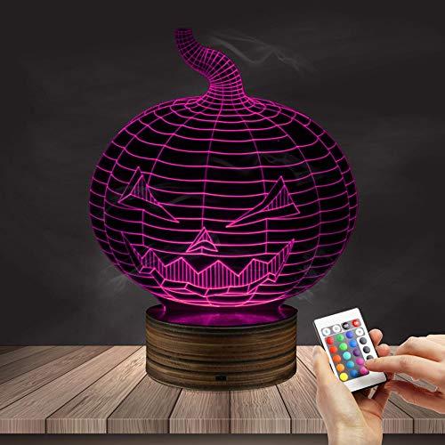 (Nachtlicht 3D Kinder Nachttischlampe 7 Farben Ändern Halloween Kürbis Optische Täuschung Nachtlichter Ideen Geburtstagsgeschenke für Kinder Baby Mädchen Jungen)