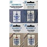 Schmetz - Assortimento di aghi gemelli Stretch, gemelli Jeans, gemelli Universal, per macchina da cucire 130/705H/4 aghi