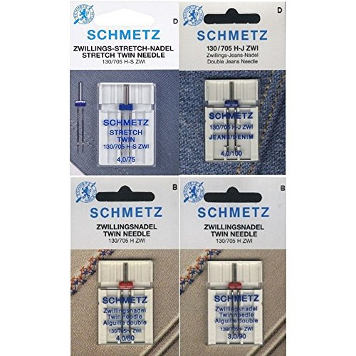 Schmetz Nadelsortiment Stretch Twin/ Jeans Twin/ Universal Twin/ System 130/705H/4 Nadeln (Zick-zack-Öse)