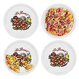 4er Set Pizzateller Napoli groß - 30,5cm Porzellan Teller mit schönem Motiv - für Pizza / Pasta, den 'großen Hunger' oder zum Anrichten geeignet