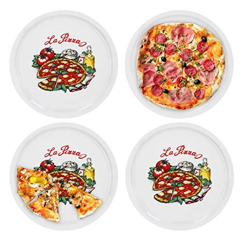 4er Set Pizzateller Napoli groß - 30,5cm Porzellan Teller mit schönem Motiv - für Pizza / Pasta, den 'großen Hunger' oder zum Anrichten geeignet Pizza-teller