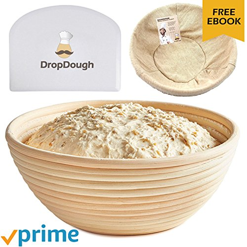 Large 10 inch 25cm Round Banneton Basket | Bread Proofing Basket | Natural Rattan Brotform | FREE EBOOK | Premium Quality Proofing | Dough Proving Bowl Artisan Bread FREE EXTRAS