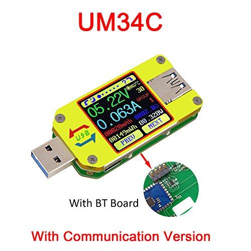 KKmoon Spannung und Strom Widerstand Tester 【Batterieladekabel Impedanz Widerstand/USB 3.0 Typ-C/Farbe Flüssigkristallanzeige】mit BT-Verbindung