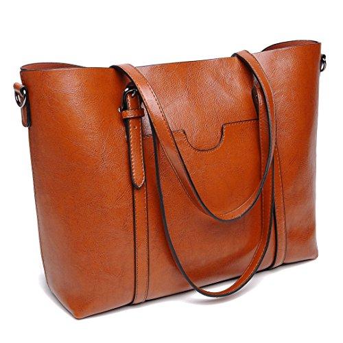 DIYNP Damen Handtaschen Schultertasche große Tote Shopper Taschen Henkeltasche Vintage Umhängetasche Schulterbeutel (Braun) (Tasche Tote 3)
