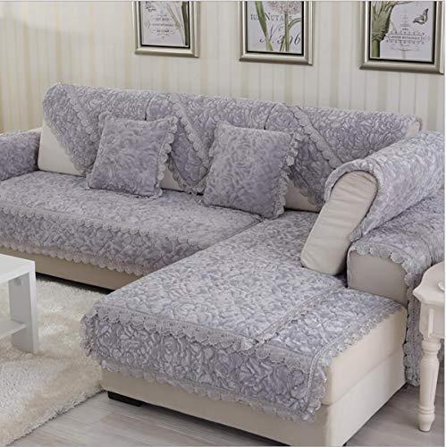 Sofabezug L Form Sofa Bezug Winter U Form 2/3/4 Sitz Dicke Flanell Rose Hussen Mode Rutschfeste Sofabezug, Gray, 70 * 150cm
