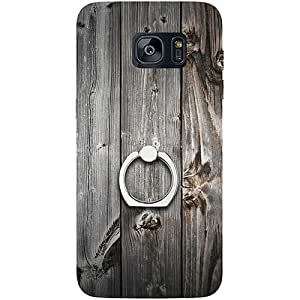 Casotec Wooden Texture Design 3D Printed Hard Back Case Cover with Metal Ring Kickstand for Samsung Galaxy S7 Edge