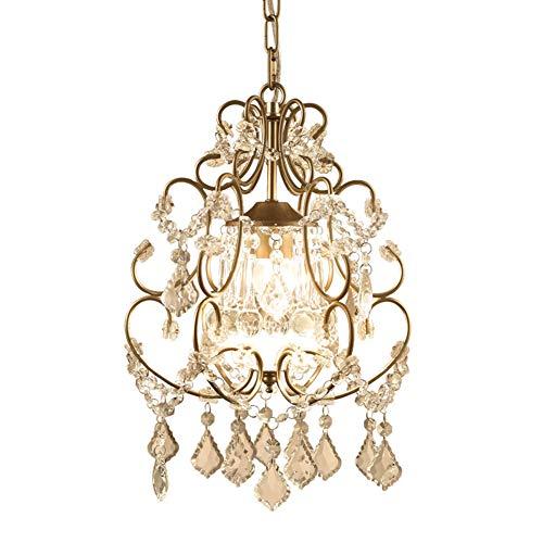 LRXHGOD Lampadario di Cristallo Piccolo Ciondolo Luce in Ferro battuto Stile Americano per corridoio Balcone corridoio Sala Scale Oro 7W,warmlight,3heads