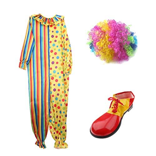 Overall Clown Erwachsene Kostüm Für - Baoblaze Clown Narr Kostüm Set Overall Schuhe Bunte Perücke Erwachsenen Cosplay Dress Up