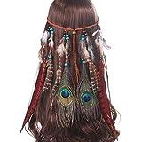 AWAYTR Damen Hippie Boho Indianer Stirnband Feder Stirnbänder für Abendkleider Halloween Karneval (Rot)
