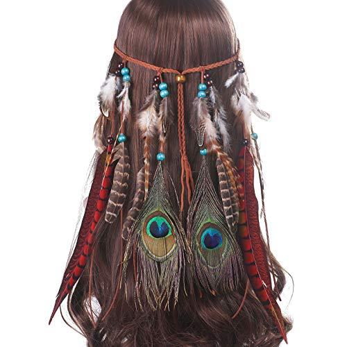 AWAYTR Damen Hippie Boho Indianer Stirnband Feder Stirnbänder für Abendkleider Halloween Karneval (Rot) (Hippie-halloween-kostüm)