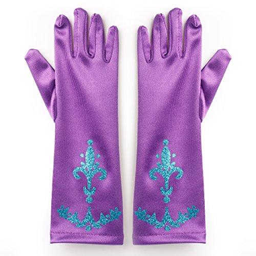 Katara 1098 - Prinzessin Elsa Handschuhe Party Fieber Kleid / Mädchen Kostüm Verkleidung Fasching Karneval, Lila