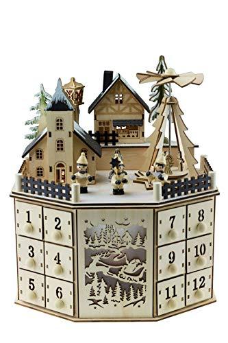 Clever Creations - Traditioneller Adventskalender aus Holz mit LED-Beleuchtung - festliches Weihnachtsdorf-Design mit 24 Schubladen - batteriebetrieben - 07 - Rund 2
