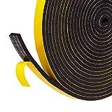 Fowong, nastro adesivo in schiuma, a celle chiuse, paraspifferi per porte e finestre, con sistema di isolamento acustico, colore giallo, giallo