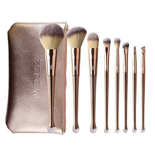 NIUYUKE Make-up-Pinsel Premium-Set Rotgold-Reparaturwerkzeug Satz von 7 Künstliche Faserabdeckung Augenbraue Lippenpinsel Champagner
