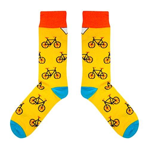CUP OF SOX - Bikes/Fahrrad / Hipster - Socken in der Tasse - Herren und Damen Geschenksocken Freizeit Socken, Gelb, 41-44