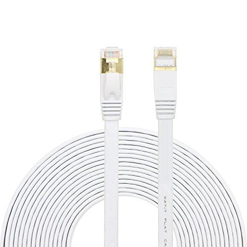 pasow Cat710Gigabit Ultra Plat Câble Ethernet Patch blindé câble réseau Internet RJ45connecteurs Blanc