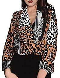 Vectry Blusas De Mujer Blusas De Leopardo Blusa con Escote Camisetas Larga Chica Blusas Largas De