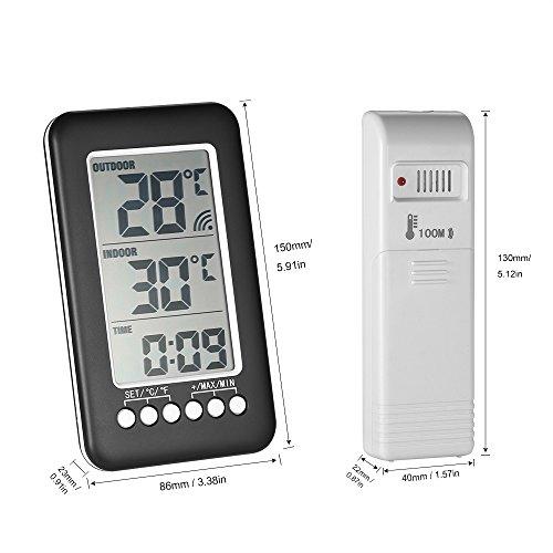 = KKmoon Orologio Senza Fili del Termometro, Misuratore di Temperatura con Trasmettitore (Interno/ all'aperto),Nero prezzo