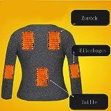 LanXi Herren Beheizte Unterwäsche, USB Lade Elektrische Beheizte Körperwärmer Daunenweste, Wiederaufladbare Thermische Kapuzenweste mit 3 Heizstufen (Schwarz (Tops+Pants), 2XL) - 2