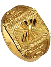 Mens Fashion Jewellery Antique Golden Floral Design Gold Plated Fashion Ring