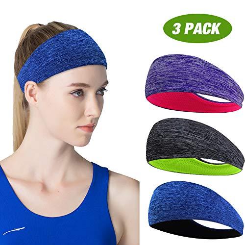 ECOLIVZIT Sport Stirnband für Damen - Schweißband Anti Rutsch für Jogging, Laufen, Wandern, Fahrrad- und Motorrad Fahren 3 Pack