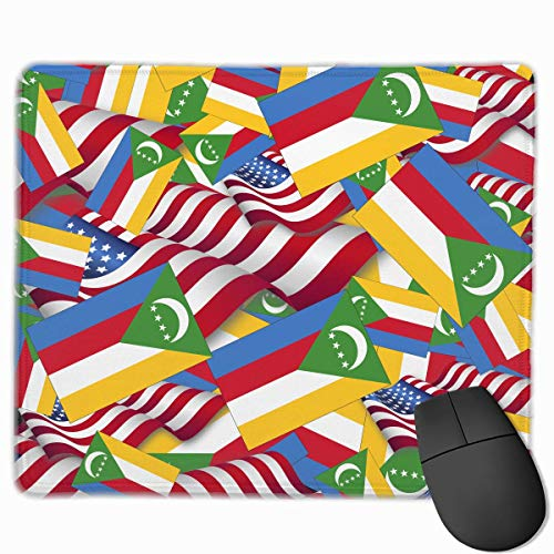 Comoros Flag with America Flag Mouse Gaming Mouse Pad Non-Slip Smooth Desk Mat Washable Material 7.1 x 8.7 Inches(18x22CM)