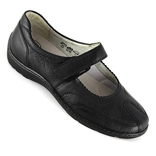 Waldlaufer Womens Henni 496302 Leather Shoes Nero (nero)
