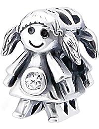 So Chic Joyas - Abalorio Charm niña sonriente vestido de blanco edredón Circonita - Compatible con Pandora, Trollbeads, Chamilia, Biagi - Plata 925