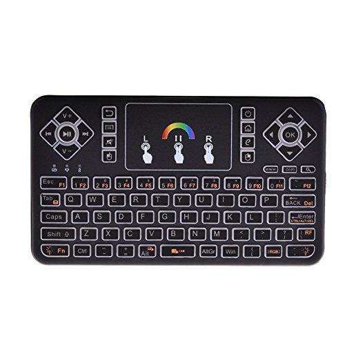 2.4GHz Mini Tastatur mit Touchpad Wireless LED Hintergrundbeleuchtung Ergonomische tastatur Wiederaufladbare Li-ion Batterie für Smart TV, Raspberry Pi 3, PC Fernbedienung (Buntes Licht)